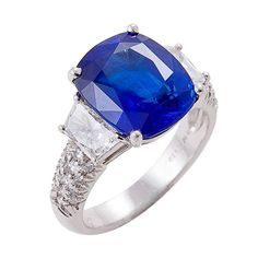 1stdibs | Exquisite Non Heat-Treated Sapphire, Diamond & Platinum Ring