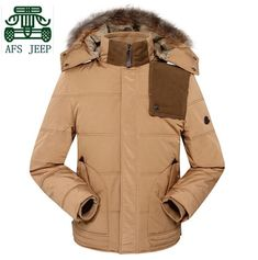 AFS JEEP 100% Winter/Spring 2015 New Design Cardigan Thickness Coats,Detachable Fur Hooded Real Men casual Coats,warmly Coats