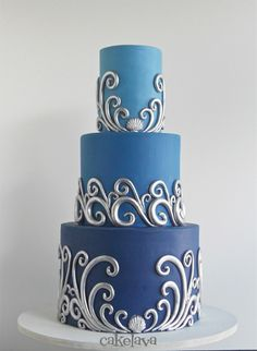 silver waves wedding cake by Rick Reichart, cakelava