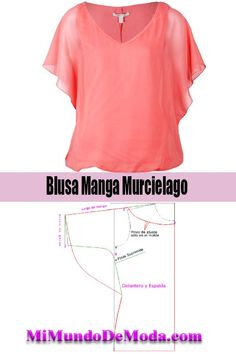blusa manga murcielago patrones o moldes aprende hacer una hermos blusa! Dress Pattern Free, Dress Sewing Patterns, Blouse Patterns, Sewing Patterns Free, Clothing Patterns, Blouse Designs, Skirt Patterns, Coat Patterns, Shirt Dress Tutorials