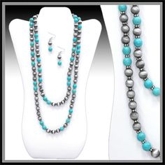 Beautiful copper bronze beaded layered necklace with turquoise available at www.Shop-Southern-Charm.com