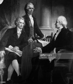 The 1st President of the United States, George Washington (1732 - 1799) in consultation with members of his first cabinet; Secretary of State Thomas Jefferson (seated), later the 3rd President and Secretary of the Treasury and co-author of the Federalist Papers, Alexander Hamilton.