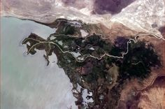 """Chris Hadfield  """"An eruption of green life where water slows enough for it to take hold, in Africa."""""""