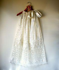 Modern Antique Silk Christening Gown & Bonnet by Oh Veronica.com.au