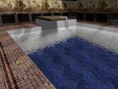 brick, dark blue tile