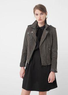 Leather biker jacket - Jackets for Woman | MANGO USA
