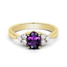 18ct Yellow Gold Amethyst & Diamond Vintage Engagement Ring 0.3ct 2.5mm