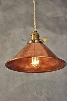 Weathered Copper Pendant Lamp Vintage Industrial by DWVintage
