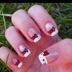 hello kitty nails! Yep! My roomie would love this! :)