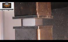Hydraulic Press Crush Large Neodymium Magnet 60*60*30 ( Explosion )