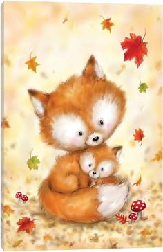 Cute Animal Illustration, Cute Animal Drawings, Canvas Artwork, Canvas Art Prints, Christmas Drawing, Autumn Art, Autumn Leaves, Print Artist, Animal Paintings
