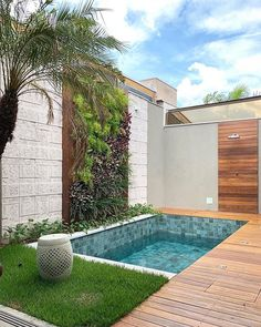 Small backyard pool with wooden decking and grass turf around it to reduce mantainence.The wall is treated with vertical garden, stone and woosen cladding as well. modern Backyard with pool Backyard pool with vertical garden. Small Backyard Design, Backyard Pool Designs, Modern Backyard, Small Backyard Landscaping, Backyard Patio, Small Pool Backyard, Backyard Ideas, Small Garden With Pool Ideas, Garden Modern