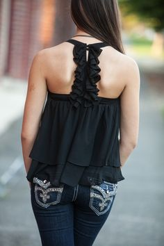   Black Chiffon Ruffle Back Tank   New Fall Fashions at Hoity Toity Boutique    #fallfashion #hoitytoityboutique