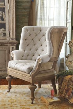 Fontaine Wingback Chair - Tufted Wingback Chair, Wingback Chair, Linen Upholstered Chair | Soft Surroundings