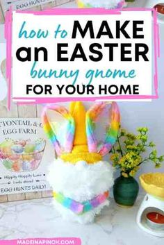 Easter gnomes are so cute! Click through to learn how to make a no-sew Easter bunny gnome with simple, cheap, and easy-to-find supplies like a foam craft cone and a pair of socks. Have fun crafting today and end up with a piece of decor you'll love to display! #Easter #DIY #bunny #gnome | Made in A Pinch @madeinapinch Bunny Crafts, Easter Crafts For Kids, Easter Ideas, Easter Activities, Family Activities, Foam Crafts, Diy Crafts, Family Fun Night, Holiday Fun