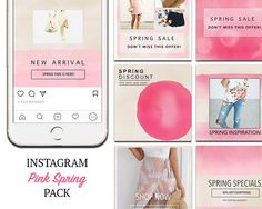 TEMPLATES: Instagram Templates, Spring Pink Social Media Marketing DIY Designs, Ready to use Photoshop Templates. PSD. Pink Instagram, Youtube Channel Art, Instagram Accounts, Instagram Posts, Social Media Template, Spring Is Here, Social Media Marketing, Diy Design, Instagram Templates