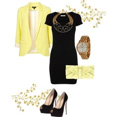 """black and yellow outfit"" Chic Business Outfit"