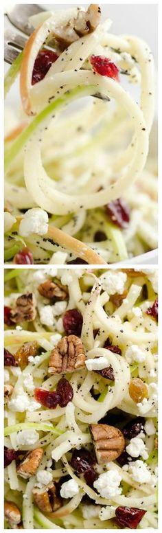 Spiralized Apple Cranberry Salad An easy and healthy recipe made with crunchy apples cranberries pecans and goat cheese all tossed in a light Citrus Poppy Seed Dressing. This salad makes for a a deliciously easy side dish or vegetarian entree you wi Healthy Recipes, Healthy Salads, Salad Recipes, Healthy Eating, Cooking Recipes, Apple Recipes, Cooking Fish, Keto Recipes, Healthy Food