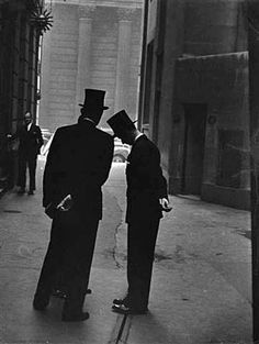 gentlemen in London (1951) by Swiss born American photographer and filmmaker Robert Frank (b 1924)