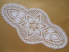 handmade crochet doily color - white 100 % - cotton thread size - 21 x 10 ( 54 cm . x 25 cm . )