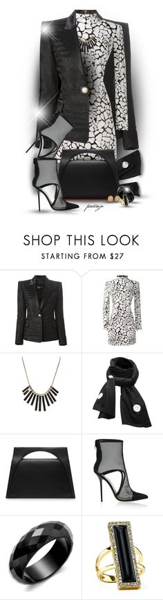"""Black and White, Again"" by rockreborn on Polyvore featuring Balmain, Marc by Marc Jacobs, SCENERY, J.W. Anderson, Giannico, House of Harlow 1960 and Versace"