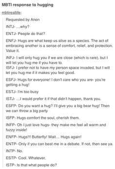 I love the ISTJ one :> I (infj) feel required to hug people sometimes but I wish I didn't have to haha.. If we are friends though, please hug me all the time!!!