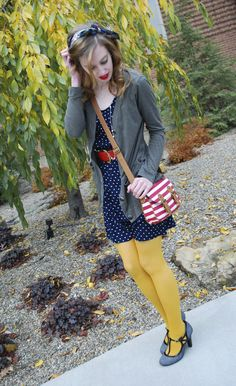 #polkadots #stripes #yellow #grey