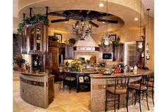 Circular Kitchen Design with Bar