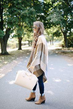 poncho for fall. love the givenchy antigona handbag