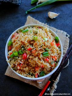 Burnt Garlic Fried Rice Recipe | Madhu's Everyday Indian