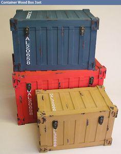 アメリカンアンティークなコンテナ型ウッドボックス3個セット