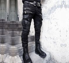 Yi Military Mens Punk Vogue Gothic Long Trousers Hip Hops Denim Pants Black Zip | eBay