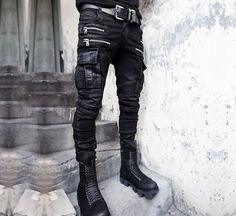 Yi Military Mens Punk Vogue Gothic Long Trousers Hip Hops Denim Pants Black Zip | eBay