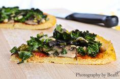 Vegan Polenta Pizza w/ Mushrooms and Kale
