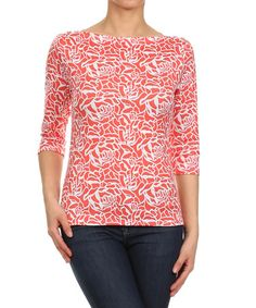 This Coral & White Floral Three-Quarter Sleeve Top by J-Mode USA Los Angeles is perfect! #zulilyfinds