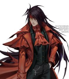 Guess lot of you must ever think about the crossover between Vincent and Alucard yes me too so here it is :L) Hellsing style Vincent.Private Commission by Whitecorner (No reproduction/reposting without. Final Fantasy Artwork, Final Fantasy Characters, Final Fantasy Vii Remake, Fantasy Series, Story Characters, Hellsing Alucard, Final Fantasy Collection, Vincent Valentine, Dragon Rpg