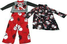 Star Wars 3-Pc Boys Size XS (4) Star Trooper Pajama & Robe Set Red, Gray, White