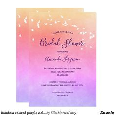 Rainbow colored purple violet pink Bridal Shower Invitation