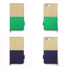 【 本革 + 日本製 】絵になるオトナの iPhoneケース   iPhone 6/6s & Plus 対応   Genuine Leather Wallet Case for iPhone 6 / 6s and iPhone 6 / 6s Plus.  Ivoire x Sapin and Ivoire x Noir.