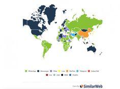 Weltkarte der populärsten Messenger: WhatsApp in 109 Ländern erste Wahl