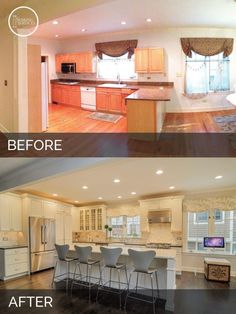 Home Remodeling Diy 21 Inspirational Kitchen Transformations That Prove Contractors Are Magicians - Is it just me or are you hungry now too? Home Remodeling Diy, Home Renovation, Kitchen Remodeling, Cheap Remodeling Ideas, Small House Renovation, Basement Renovations, Home Improvement Projects, Home Projects, Before After Home
