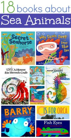 Dive into these great books about sea animals for kids . These picture books about the ocean and the sea animals that live there will delight! Ocean Activities, Book Activities, Preschool Activities, Toddler Preschool, Vocabulary Activities, Ocean Unit, Ocean Crafts, Fish Crafts, Under The Sea Theme