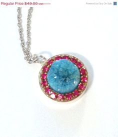 THANKS SALE Turquoise Druzy and hot pink by YaronaJewelryDesign, $42.63