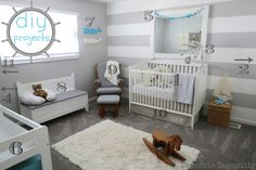 DIY nursery room projects for a nautical themed room! Great gender neutral ideas!
