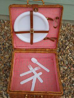 Shabby Chic BoHo Wicker Picnic Basket Vintage by hcgboottops1111, $29.99