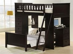 Catherines dark espresso finish wood twin / twin loft bunk bed set desk and drawers. This set features 2 twin beds with one on top with rails, a desk area on the end and shelves and drawers on the opposite side. Loft bunk measures L x W x H, Bunk Bed Sets, Bunk Bed With Desk, Loft Bunk Beds, Bunk Beds With Stairs, Bunk Rooms, Kids Bunk Beds, Kid Rooms, Teen Girl Bedrooms