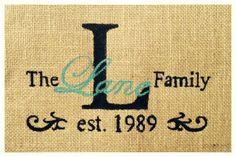 Painted burlap personalized family established date #custom