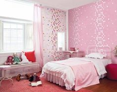 Astonishing Kids Room Design Displaying Pink Polka-dots Wallpaper With Grey Polished Metal Bed Frame Which Has White And Pink Satin Comforters Set Plus Pink Satin Rod Pocket Window Curtain As Well As Lil Girl Room Ideas Plus Designer Girls Bedroom of Cute Wallpaper Design Ideas For Teens Girls Bedrooms from Bedroom Ideas