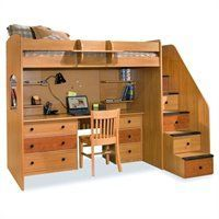 Berg Furniture Utica Lofts Twin Loft Bed with 5 Drawer Staircase