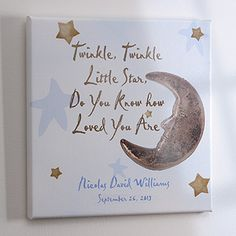 Personalized Newborn Baby Canvas Art - Star and Moon Design - 2742